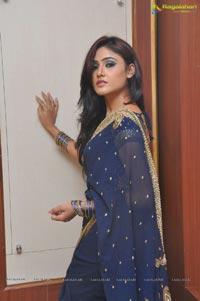 Sony Charishta in Blue Saree