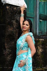 Nisha Shah in Blue Saree