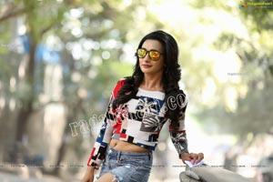 Nisheetha in Crop T-Shirt and Denim Shorts