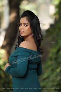Sameera Reddy G in Teal Blue Off Shoulder Dress