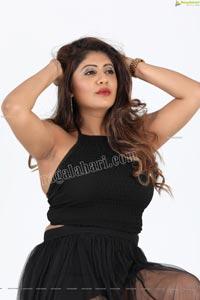 Sejal Mandavia in Black Crop Top and Mini Skirt