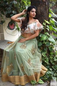 Simar Singh in Sage Green Lehenga