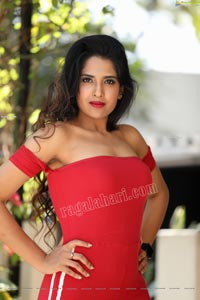 Simar Singh Red Off Shoulder Bodycon Jumpsuit