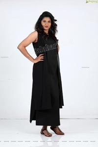Raja Kumari YN in Black Maxi Dress