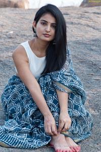 Ananya Nagalla in Blue Bagru Print Saree