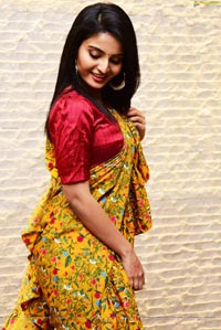 Ananya Nagalla in Yellow floral Print Saree