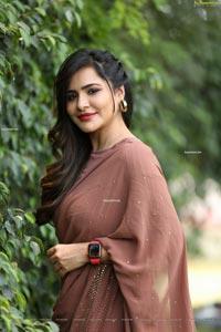 Ashu Reddy in Alluring Light Broun Saree