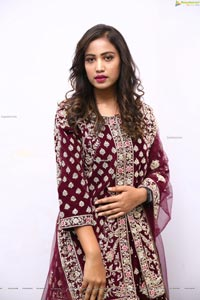 Model Chandana in Dark Purple Velvet Lehenga