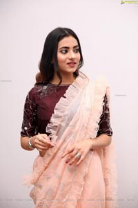 Dimple Thakur in Light Peach Ruffle Saree