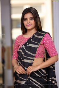 Kusumm in Black Designer Saree