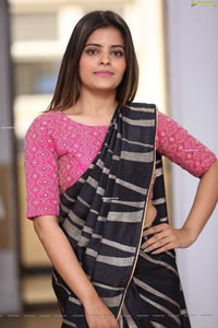 Kusumm in Black Designer Saree