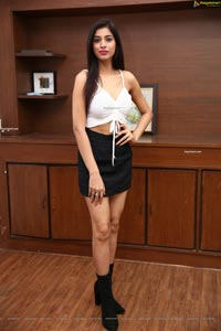 Naziya Khan inMini Skirt and Spaghetti Strap Crop Top