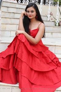 Vaanya Aggarwal in Red Ruffle Dress