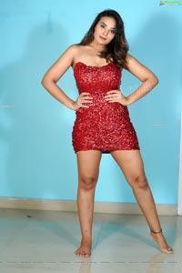 Aadita in Red Sequin Bodycon Dress