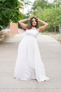 Aadita in White Long Dress