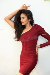 Mubaraka in Wine Red Ruched One-Shoulder Dress