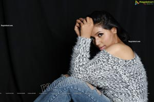Neha Goswami in Ripped Jeans and fuzzy Sweatshirt