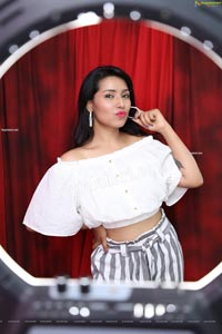Neha Goswami in White Elastic Waist Crop Top and Stripe Pant