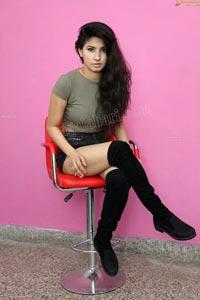 Sheetal Bhatt in Gray Crop Top and Black Denim Hotpants