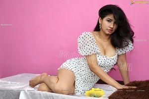 Sheetal Bhatt in White Polka Dot Mini Dress
