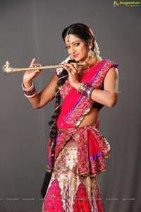 Udaya Bhanu in Red Saree
