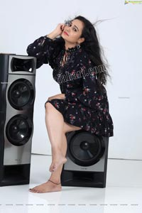 VJ Jaanu in Black Floral Print Mini Dress