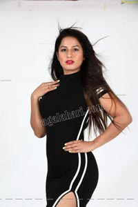 Shunaya Solanki Black High Slit Dress Exclusive PhotoShoot