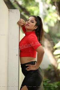Shunaya Solanki in Red Crop Top and Black Slit Skirt