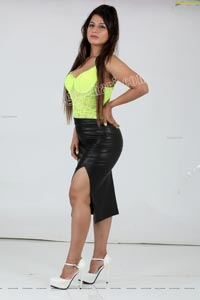 Shunaya Solanki Neon Yellow Crop Top and Slit Skirt