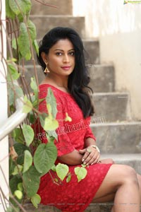 Sawali S Nandaragi in Red Lace Dress Exclusive Photo Shoot