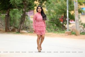 Tripura Nimmagadda in Pink Frill Trim Dress