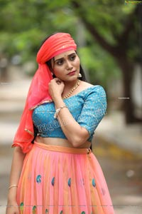 VJ Jaanu in Pink & Blue Lehenga Choli