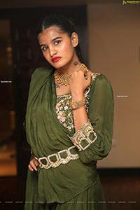 Sindhu Manthri in Olive Green Lehenga