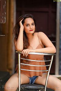 Dhriti Patel in Light Brown Peplum Top and Denim Shorts