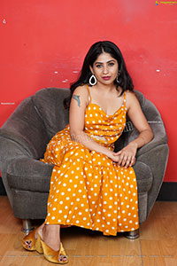 Madhulagna Das in Yellow Polka Dot Slit Dress