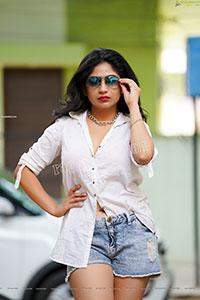 Madhulagna Das in White Shirt and Denim Shorts