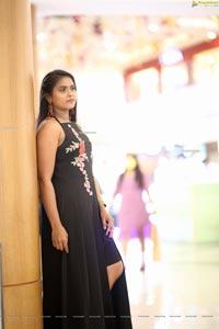 Anchor Priyanka in Black Thigh-High Slit Dress