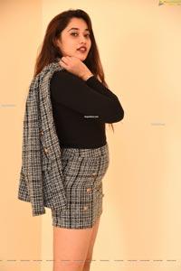 Ankita Kharat in Gray Plaid High Waist Bodycon Mini Skirt