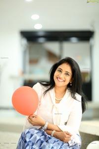 Gayatri Bhargavi in Classic White Top and Blue Skirt