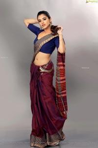 Malvika Sharma Dons a Bright Red Saree