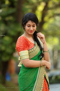 Akhila Ram in Red and Green Half saree Exclusive Shoot