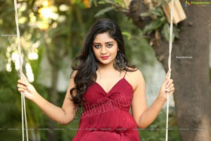 Deepa Umapathy in Red Spaghetti Strap Knot Front Dress