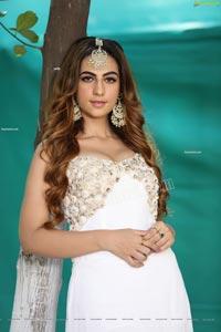 Harshita Panwar in White Prom Dress With High Slit