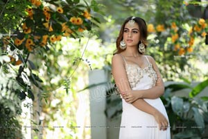 Harshita Panwar in White Prom Dress With High Slit