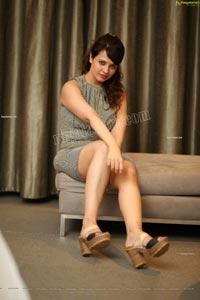 Saloni Aswani Exclusive Photos in Gray Striped Bodycon Dress