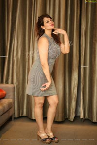 Saloni Aswani Exclusive Photos in Gray Striped Bodycon Dress