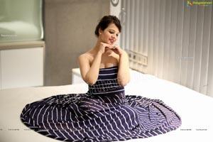 Saloni Aswani in Navy Blue Strapless Striped Swing Dress