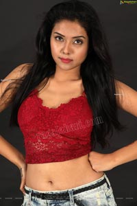 Swati Mandal in Black Crop Top and Ripped Jeans