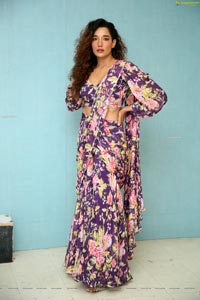 Aditi Sonali Tiwari in Purple Floral Printed Saree