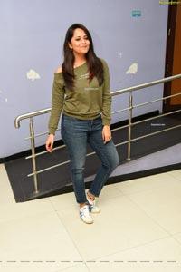 Anasuya Bharadwaj in Olive Green T-Shirt and Jeans